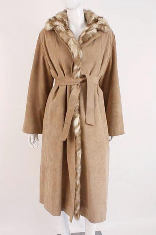 Vintage 70's Ultra Suede Trench Lined in Mink Fur