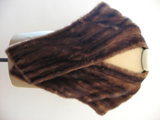 Vintage 50's Chocolate Brown Mink Fur Stole Wrap