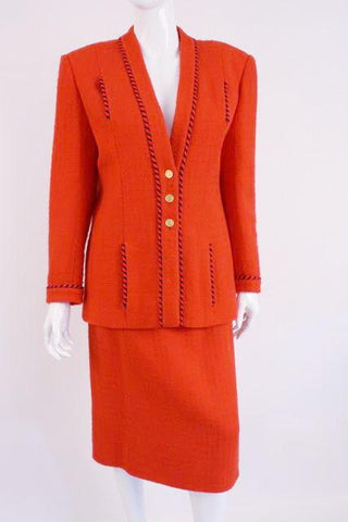 Vintage CHANEL Red Boucle Suit