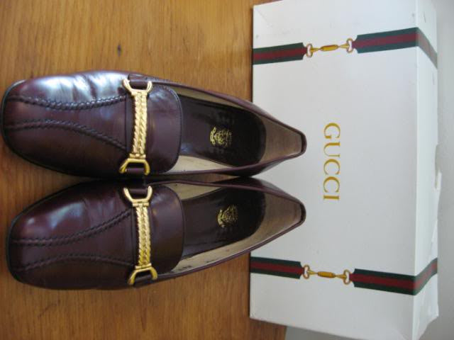Vintage Early 80's GUCCI Burgundy Leather Loafers with Gold Chain Detail & Original Box & GUCCI Tissue Paper, Size 36.5 (6.5)
