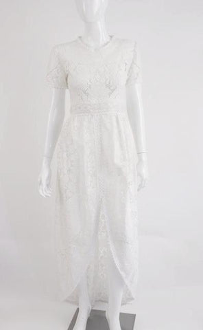Vintage White Cotton Lace Dress