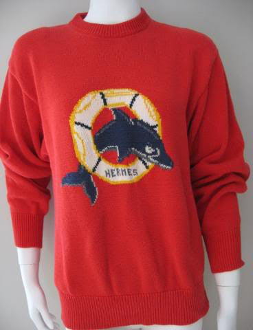 Vintage Late 70's HERMES Red Cotton Sweater with Nautical Theme