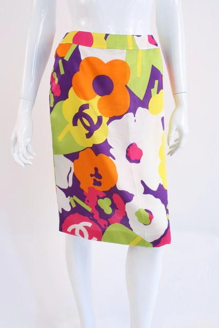 Vintage Chanel foral silk skirt
