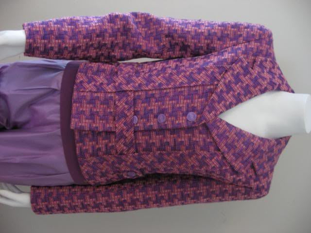 Spectacular CHANEL Jacket Blazer in Purple, Lilac, & Pink Tweed Houndstooth Like Weave with Belt, CC Buttons, & Camellia Flower Silk Lining