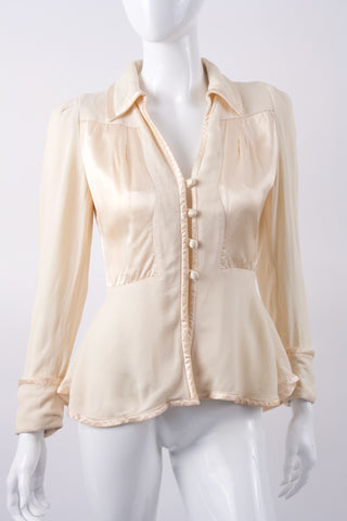 Vintage 70's OSSIE CLARK Moss Crepe & Satin Blouse