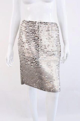 Rare CHANEL 00P Crochet & Metal Sequin Skirt