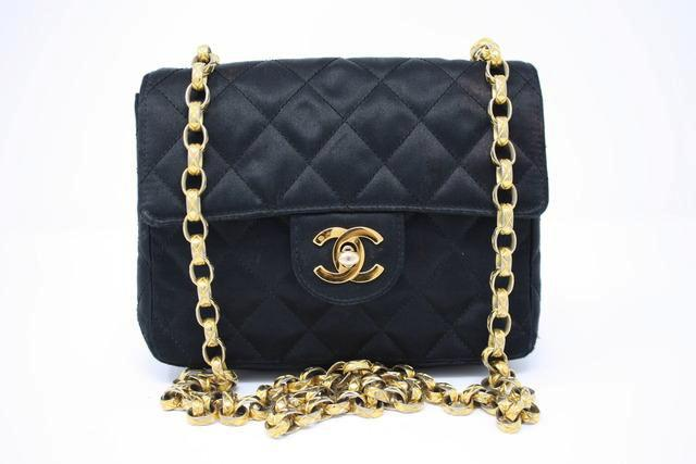 Vintage Chanel Black Satin Flap Bag