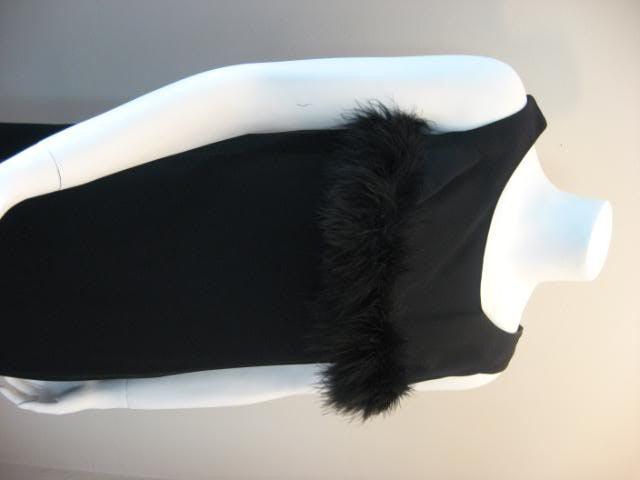 Vintage 60's Black Sheath Party Dress with Fantastic Feathers