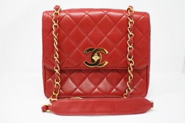 Vintage Chanel Jumbo Red Flap Bag