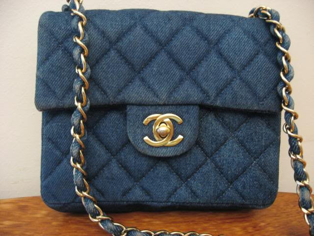 Quilted Pre-90's CHANEL Blue Denim Quilted Handbag with Chain Shoulder Strap & CC Closure