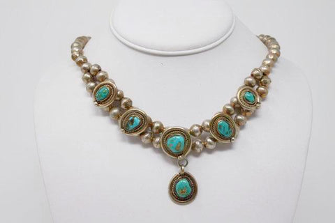 Vintage Sterling Silver & Turquoise Necklace
