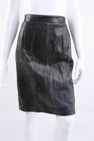 "Vintage YVES SAINT LAURENT ""Snake"" Leather Skirt"