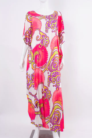 Vintage 70's Psychedelic Pleated Caftan Dress