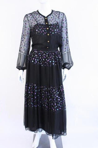 Rare Vintage Early 80's CHANEL Chiffon Maxi Dress