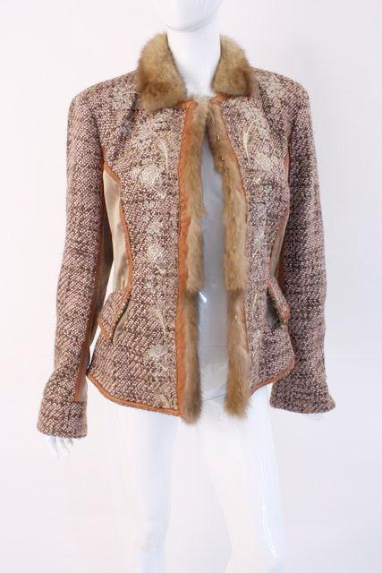 Roberto Cavalli Tweed Jacket with Mink