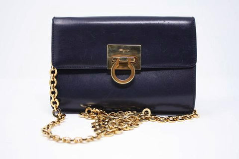 Vintage FERRAGAMO Navy Convertible Handbag or Clutch ON LAYAWAY