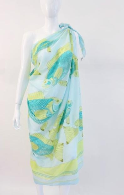 Hermes Fish Print Parero Shawl