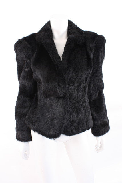 Vintage 80's Black Rabbit Fur Coat