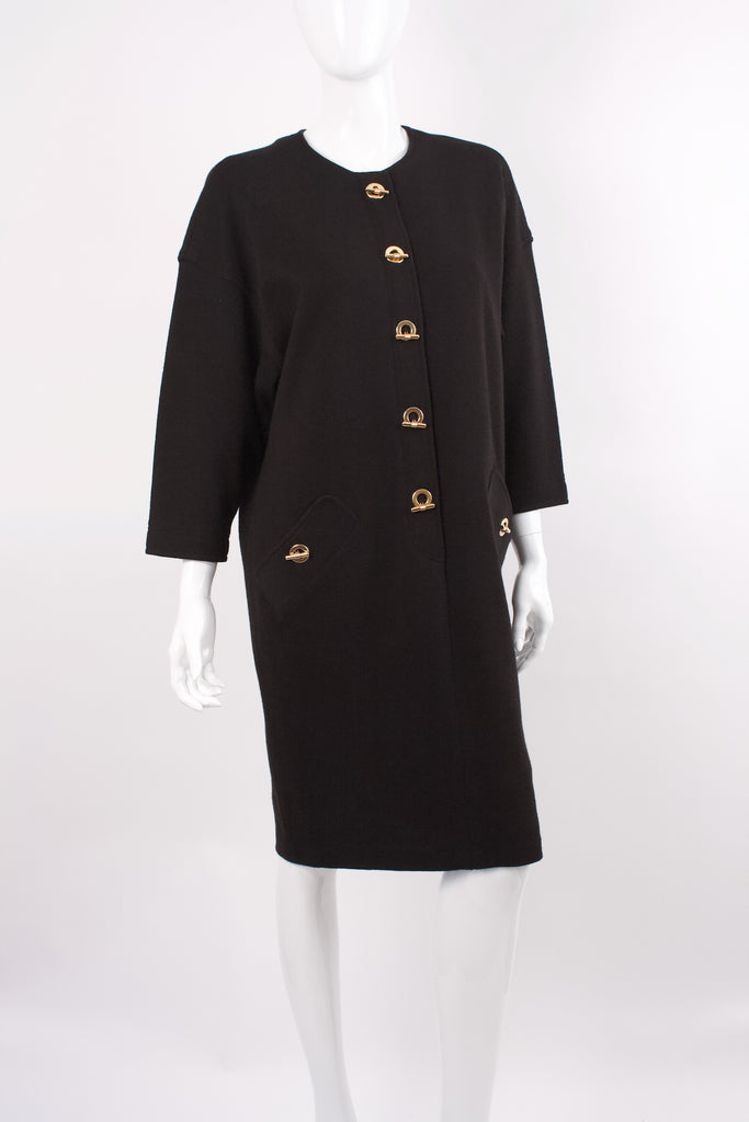 Vintage ADRIENNE VITTADINI Black Wool Toggle Dress
