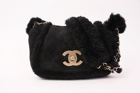 Vintage CHANEL Black Shearling Bag