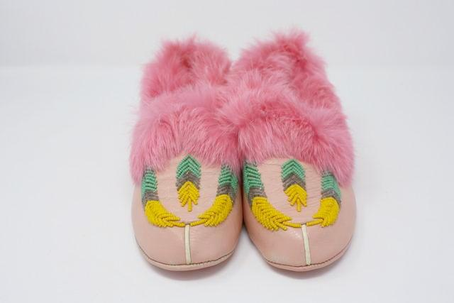 Vintage Beaded Fur Moccasins