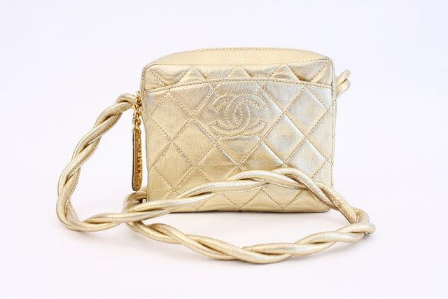 Vintage Chanel gold camera bag