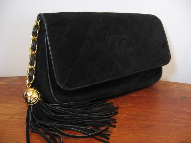 CHANEL Black Quilted Suede Clutch with CC and Signature Tassel