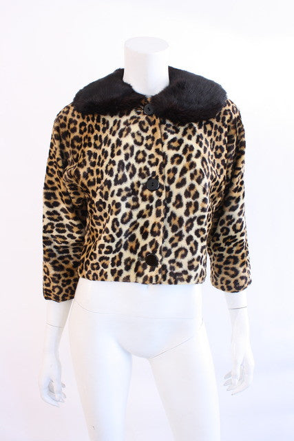 Vintage 50's Faux Leopard Fur jacket with fur collar