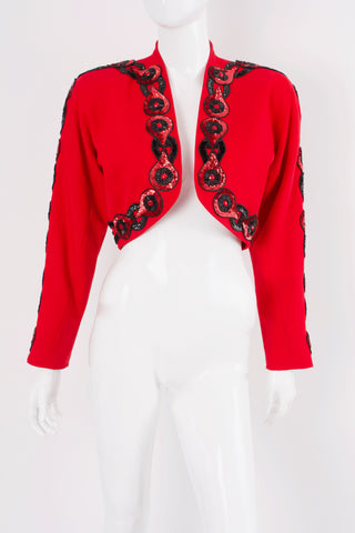 Vintage 80's Red Wool & Sequin Bolero Jacket