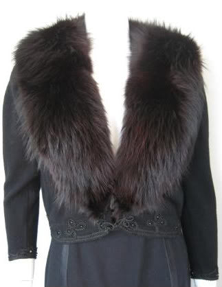 Vintage 50's Black Cashmere Sweater with 2 Fur Collars: Blonde Mink & Black Fox, Lace Lining, & Beaded Ribbon Details