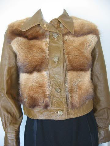 Vintage 70's Red Fox Fur & Brown Leather Jacket with Military Buttons