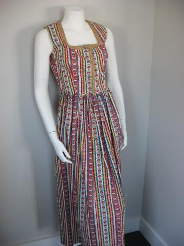 Vintage 70's German Inspired Novelty Print Maxi Dress