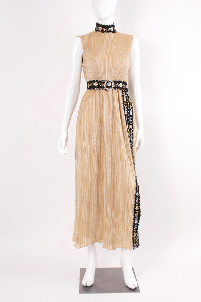 Vintage 70's RICHILENE Gold Metallic Dress