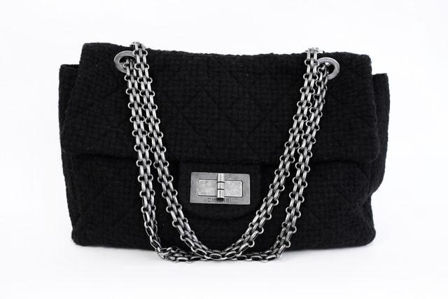e241f0db6693 Rare CHANEL F/W 2009 XXL Reissue Weekender Tweed Flap Bag