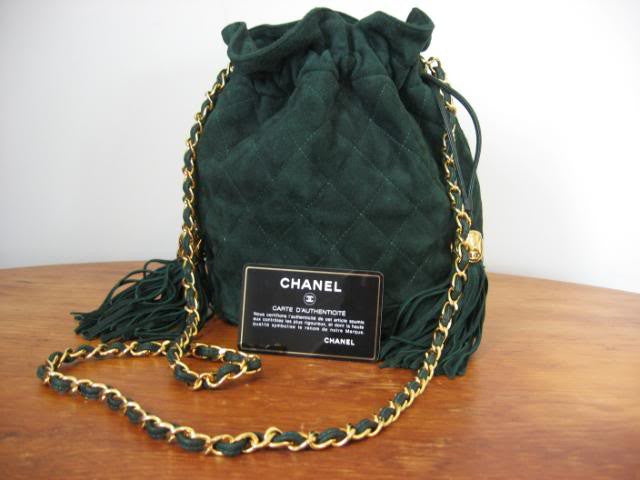 Mint CHANEL 1990's Emerald Green Quilted Suede Handbag with CC Logo Tassels, Chain Shoulder Straps, and Card