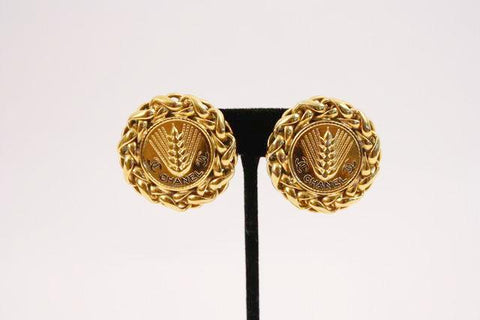 Vintage 80's CHANEL Wheat & Chain Earrings