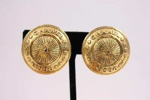 Vintage CHANEL 1990 Gold Earrings
