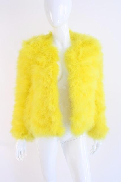 2004 GUCCI Yellow Marabou Feather Jacket by Tom Ford