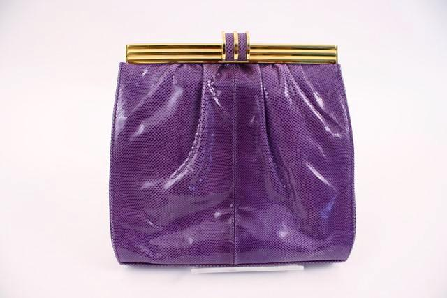 Vintage 80's Purple Lizard Handbag