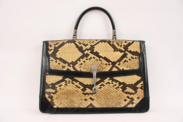 Vintage 70's python large bag brief case