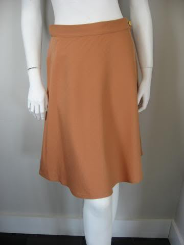 Vintage 70's SALVATORE FERRAGAMO Peach Pink Wool Blend Skirt with Signature Shoe Print Button