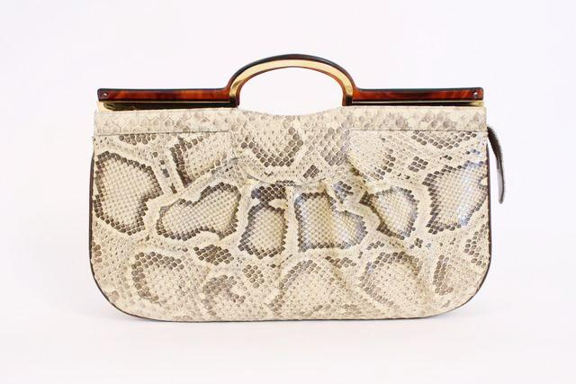 Vintage 70's python clutch top handle bag