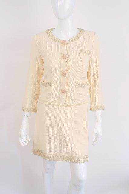 Fendi cotton knit dress jacket suit
