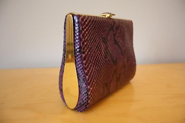 Judith Lieber Purple Python and Gold Clutch