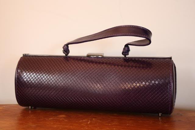 Philip Treacy Purple Lizard Barrel Handbag