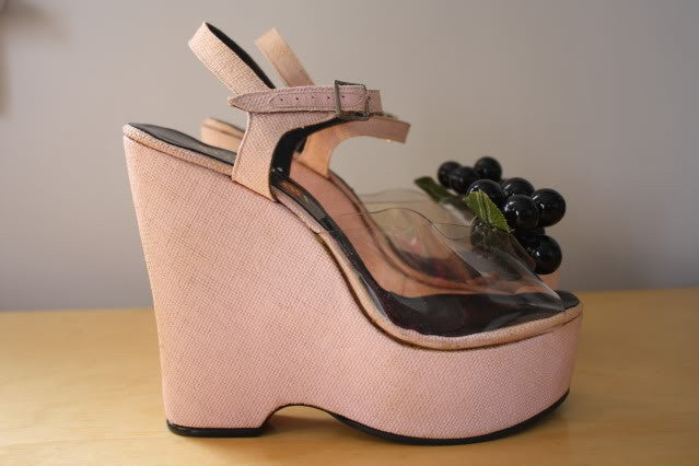Rare Bonnie Smith for Kimel Pink Linen Platforms