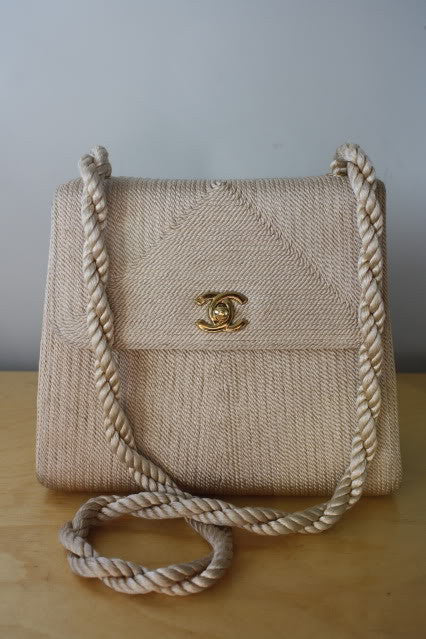Rare Chanel Cord and Leather Bag