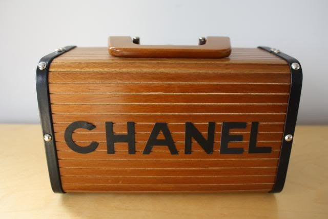 Rare Chanel Wooden Mini Trunk Handbag