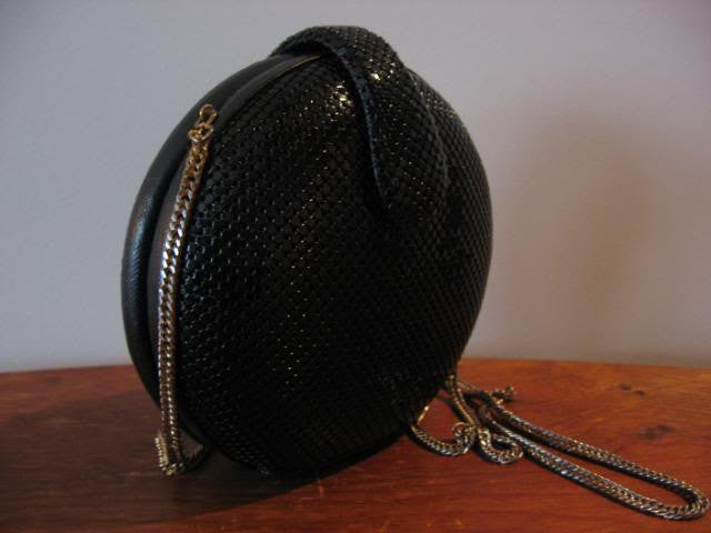Whiting Davis Black Circular Chain Mail Shoulder Bag