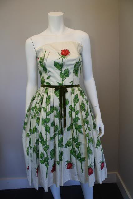 Vintage 50's JONNY HERBERT White Dress with Rose Print & Tulle Underlay